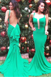 Ruffles Spaghetti Straps Sleeveless Backless Long Solid Stretch Mermaid Evening Dress