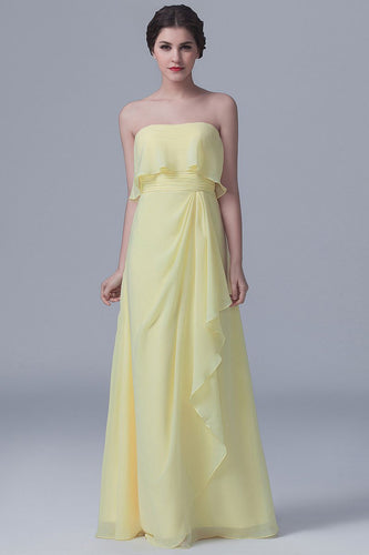 Strapless Floor-Length Solid Ruched Sheath Bridesmaid Dress With Ruffles