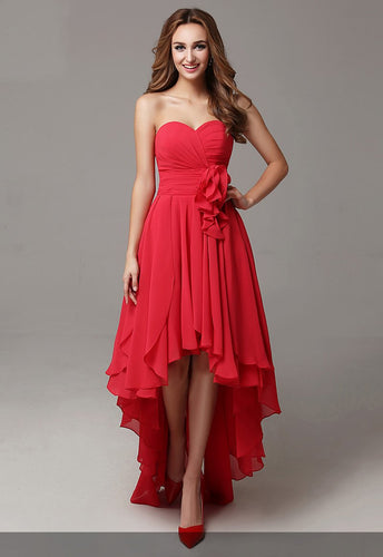 Ruffles Sweetheart Sleeveless Zipper-Up High-Low Solid Ruched Chiffon Evening Dress