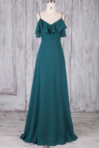 Spaghetti Strap Sweep Train Chiffon Bridesmaid Dress With Ruffles