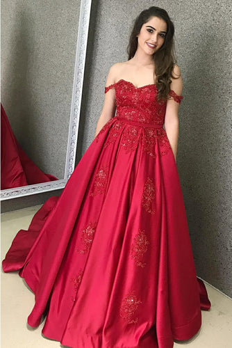 Satin Off-The-Shoulder Court Train Prom Dress With Applique