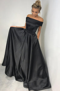 Off-The-Shoulder Black Satin Long Formal Evening Dress