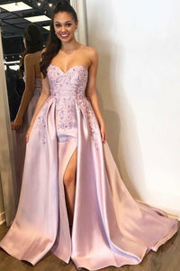 Satin Strapless Sweetheart Embroidered Prom Dress With Overskirt