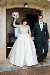 Satin V-Neck Cap Sleeve Sweep Train Plus Size Bridal Dress With Beaded Bodice