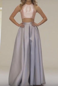 Scoop Neck Sleeveless Open Back Two Piece Floor-Length Satin Evening Dresses