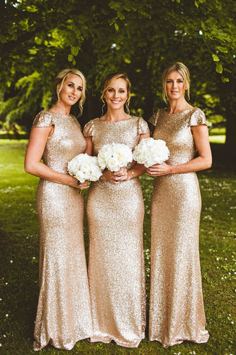 Sequin Bateau Neck Cap Sleeve Sweep Train Sheath Bridesmaid Dress
