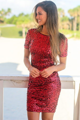 Sexy Sequin Bateau Neck Short Sleeves Short Solid Bodycon Cocktail Dress