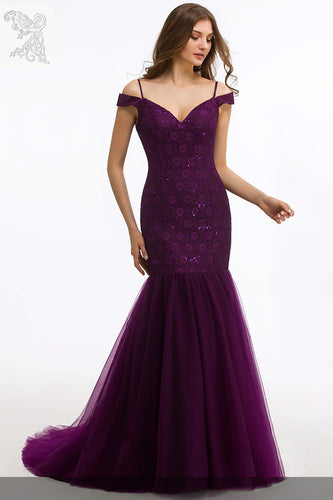 Sequin Lace Spaghetti Straps Cold Shoulder Zipper-Up Long Solid Mermaid Evening Dress