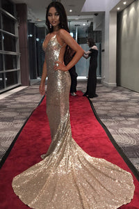 Sequin Spaghetti Straps Sleeveless Backless Long Solid Mermaid Prom Dress with Court Train