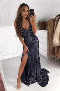 Black Sequin Spaghetti Straps Sleeveless Long Slit Evening Dress with Sweep Train