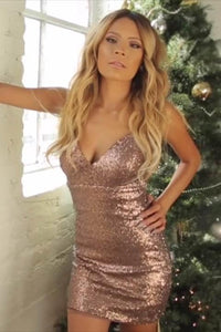 Sequin Spaghetti Straps Sleeveless Zipper-Up Mini Solid Bodycon Cocktail Dress