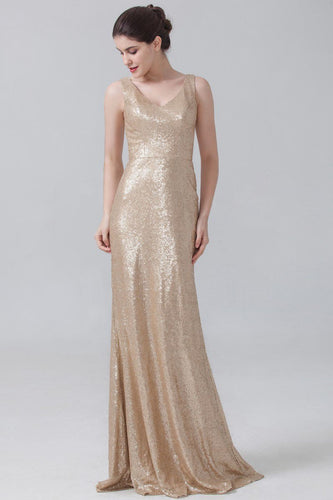 Sheath Sequin V-Neck Sleeveless Long Bridesmaid Dress with Sweep Train