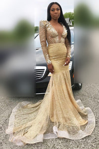 Sequinned Long Sleeve V-Neck Illusion Mermaid Prom Dress With Rhinestone