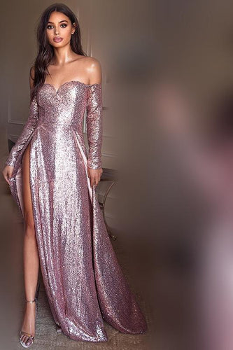 Sexy Sequin Off Shoulder Long Sleeves Long Solid Slit Sheath Prom Dress