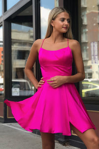 Sexy Fuchsia Spaghetti Straps Sleeveless Lace-Up Short Solid Satin A-Line Cocktail Dress