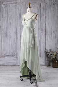 Spaghetti Strap Open Back High-Low Solid Ruched Bridesmaid Dress