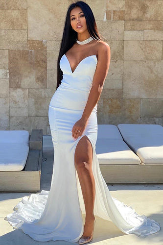 Sexy Strapless Sleeveless Long Solid Stretch Slit Mermaid Prom Dress with Sweep Train