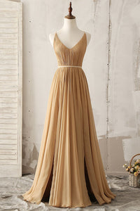 V-Neck Sleeveless Open Back Long Pleated Chiffon Bridesmaid Dress With Slits