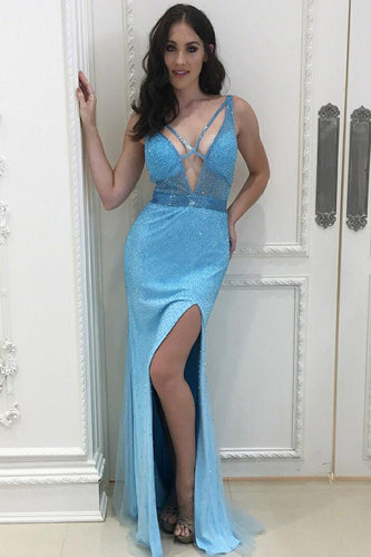 Sheath Plunging V-Neck Split Prom Dress With Beads