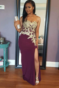 Sheath Strapless Sweetheart Burgundy Jersey Side Slit Prom Dress With Lace Applique
