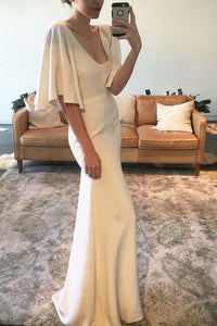 Sheath V-Neck Open Back Satin Sweep Train Wedding Dress With Flutter Sleeve