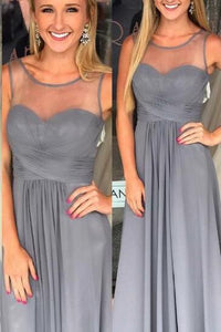 Sheer Neck Empire Waist Grey Chiffon Formal Evening Dress With Ruched Bodice