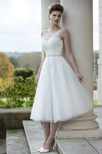 Sheer Neck Illusion Back Tea-Length Bridal Dress With Lace Applique