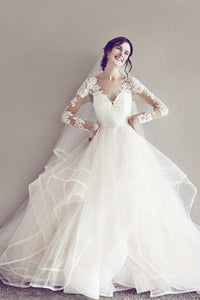 Sheer Neck Keyhole Back Long Sleeve Sweep Train Wedding Dress With Illusion Lace Bodice