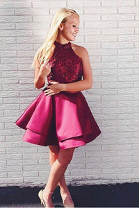 Short High Neck Sleeveless Burgundy Satin Formal Dress With Lace Bodice