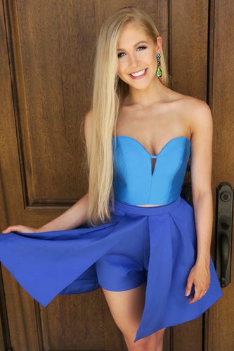 Short Strapless Sweetheart Two-Piece Satin Prom Dress
