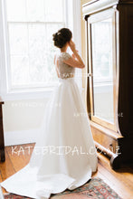 Beaded Bodice Two-Piece Backless Cap Sleeve Jewel Neck Sweep Train Satin Bridal Dress