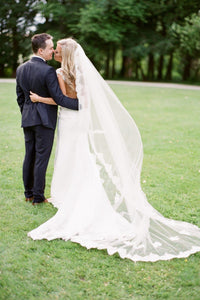 Single Layer Lace Edge Chapel Length Bridal Veil With Scattered Lace Applique