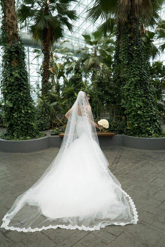 Single Tier Cathedral Bridal Veil With Lace Edge