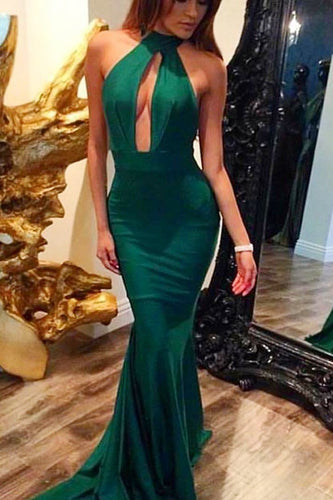Sleeveless High Neck Elastic Woven Satin Mermaid Formal Dress With Sweep Train