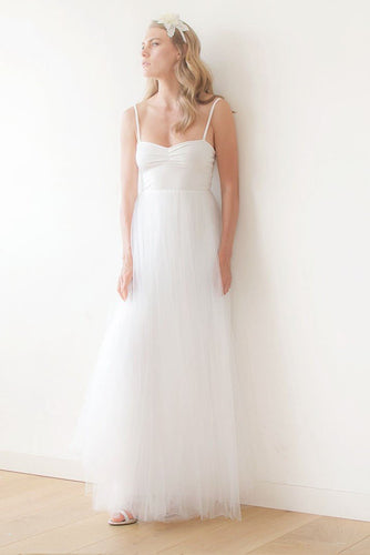 Spaghetti Strap A-Line Floor-Length Tulle Bridal Dress With Jersey Bodice