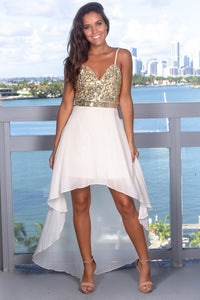 Spaghetti Strap Chiffon High-Low Prom Dress With Sequin Bodice