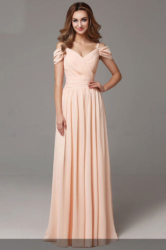 Spaghetti Straps Cold Shoulder Zipper-Up Floor-Length Solid Ruched Chiffon Evening Dress