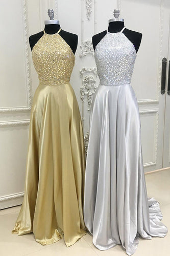 Spaghetti Strap Cut Out Back Prom Dress With Rhinestone Beaded Bodice