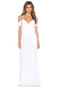 Spaghetti Strap Off-The-Shoulder Floor-Length Chiffon Bridal Dress