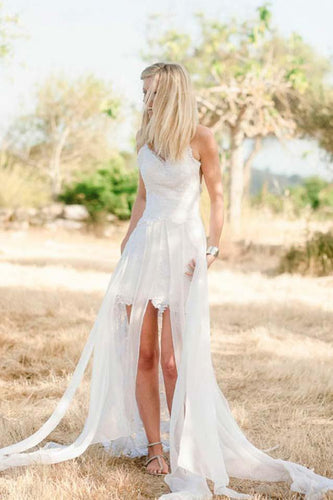 Spaghetti Strap Open Back Lace High-Low Wedding Dress With Panel Train