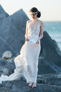Spaghetti Strap Open Back Sweep Train Beach Wedding Dress With Lace Bodice