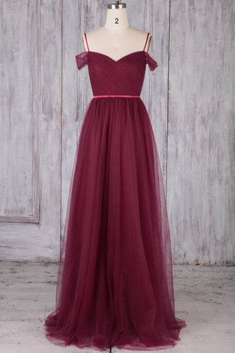 Spaghetti Strap Cold Shoulder Backless Long Ruched Tulle Bridesmaid Dress