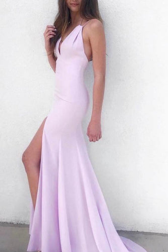 Sexy Spaghetti Straps Sleeveless Backless Long Solid Slit Mermaid Evening Dress