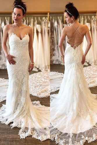 Spaghetti Straps Sleeveless Lace-Up Long Solid Mermaid Wedding Dress with Sweep Train