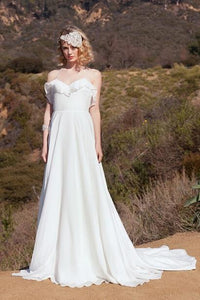 Ruffles Spaghetti Straps Sleeveless Long Solid Chiffon Wedding Dress with Court Train