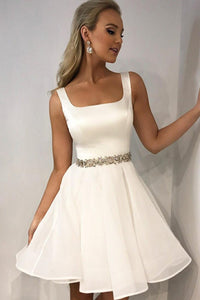 Square Neck White Chiffon Cocktail Dress With Crystal Beaded Bodice