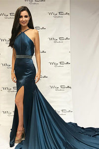 Strap Crystal Beaded Court Train Mermaid Formal Dress With Thigh Split