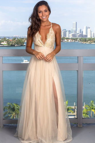 Strap Low V-Neck Criss-Cross Back Sweep Train Split Tulle Prom Dress With Beaded Bodice