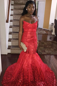 Strapless Open Back Red Taffeta Mermaid Prom Dress With Sequins