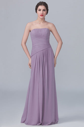 Strapless Floor-Length Solid Ruched Sheath Chiffon Bridesmaid Dress